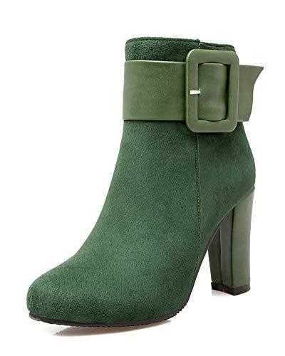 Minetom Damen Stiefeletten Chelsea Boots Mit Blockabsatz Profilsohle Grün 36 EU -