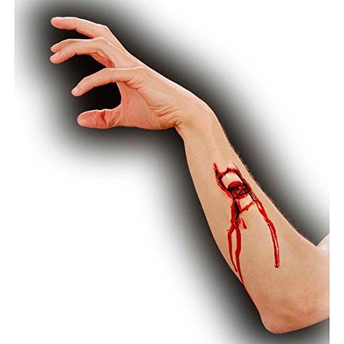 Offener Bruch Latex Applikation Fraktur mit Kleber F/X Latexapplikation Verletzung Blutige Zombie Effekt Schminke Horror Make Up Theaterschminke Halloween Profischminke