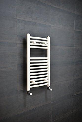 Sèche-serviettes eau chaude 251W - 700 x 400mm - Incurvé - Blanc - Radiateur salle de bain - Chauffage central