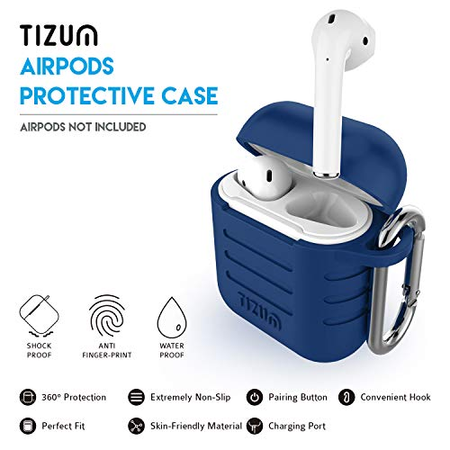 Tizum Apple AirPod Silicone-Shockproof Case Cover with Carabiner Hook (Blue) Image 2
