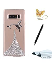 Funda Galaxy Note 8,TOUCASA Glitter Brillante Super Delgado y Ligero Transparente TPU Silicona,Funda Móvil Case Brillo, Brillante Anti-arañazos Case Ángel Pequeña hada Cover para Samsung Note 8-Plata