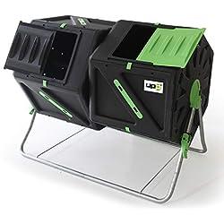 UPP Composteur à Tambour avec 2 Chambres I Composteur de 105 L avec Ventilation Interne I composteur pour Jardin et Balcon I Composteur compacte à Deux Compartiments