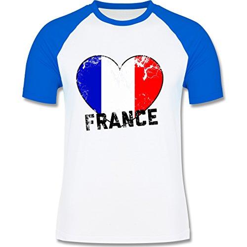 EM 2016 - Frankreich - France Herz Vintage - zweifarbiges Baseballshirt für Männer Weiß/Royalblau