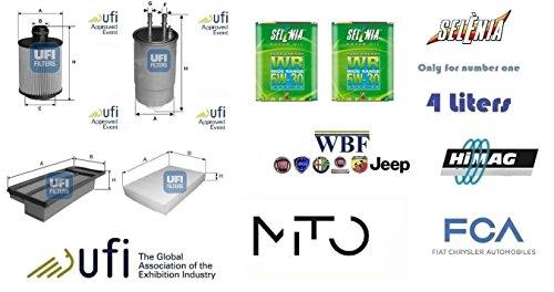 Kit filtri tagliando UFI Alfa Mito 1.3 JTDm 16v 70 Kw + 4 Litri Oil Selenia 5W30