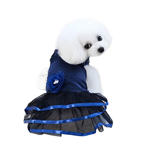 Sonderverkauf Mode Luxus Frühling und Sommer Blume Sling Rock Tutu, Spitze, Elegantes Prinzessinnenkleid Kleid Hundekostüme Pet Kleidung für Haustiere (XS, Blue) (Tutu Kostüme Niedliche)