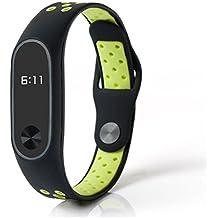 LEEHUR Xiaomi mi Band 2 Silicone Polso Blet Cinturino Braccialetto Bracciale Accessori per Xiaomi mi Band 2 Smart Watch Miband (Nero & Verde)