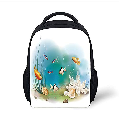 Kids School Backpack Aquarium,Hawaiian Pacific Fauna with Different Fishes Oceanic Plants and Seashells Decorative,White Teal Orange Plain Bookbag Travel Daypack Hawaiian Tank