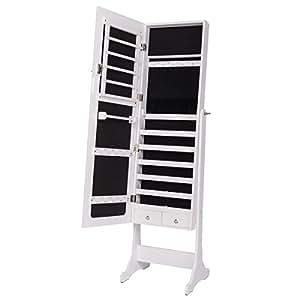 DXP Schmuckschrank Spiegelschrank Standspiegel Weiß Spiegel Deko 120*36*9cm Abschließbar JCYJ06