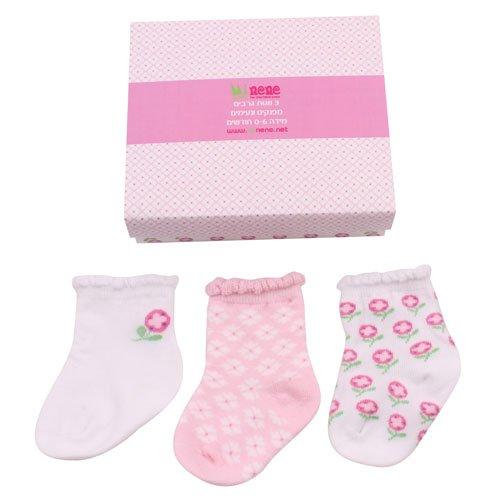 Minene Baby Infant Kleinkind Kids Geschenk-Set von 3Mädchen Socken (0bis 6Monate, weiß) (Verschönert Mädchen-socken)