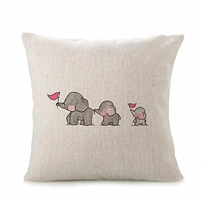 Kissenbezug 43 x 43 cm Tier Elefant Sofa Bett Auto Home Decor Festival Kissenhülle LuckyGirls