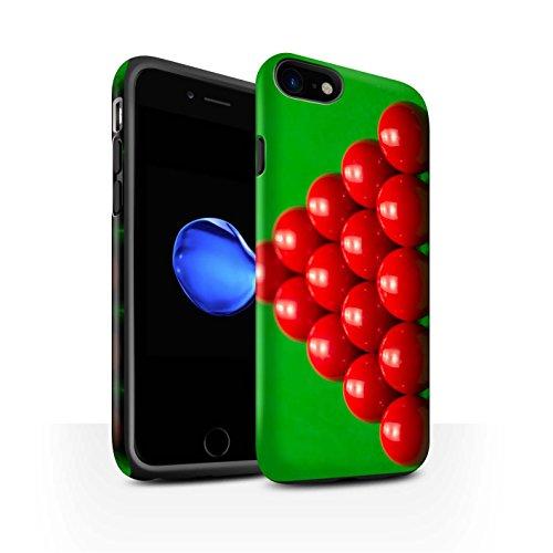 STUFF4 Matte Harten Stoßfest Hülle / Case für Apple iPhone 8 / Rote Kugel/Kreide Muster / Snooker Kollektion Rack