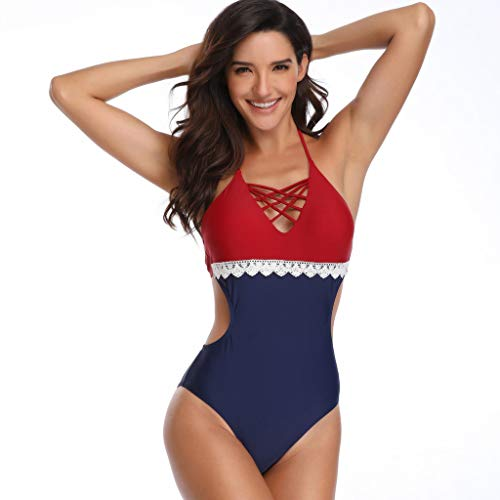 friendGG Frauen Hohe Taille Gepolsterte Spitze Floral Sexy Strand Bikini V-Ausschnitt Einteilige Badebekleidung Frauen Nähen Einteiliger Badeanzug Bauchkontrolle Schwimmen Kostüm ()