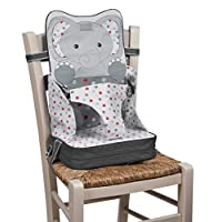 Baby Polar Gear Portable Booster Seat - A take-Anywhere highchair with Integrated Storage Pocket - for Toddlers Aged 18-36 Months - Lightweight, Safe and Easy-to-Clean - Grey Elephant Design