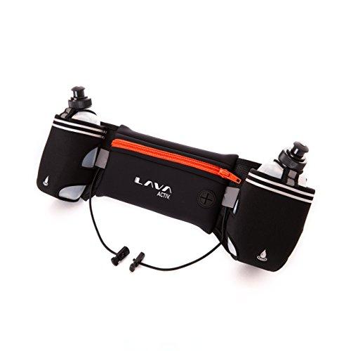 Lava Activ Hydrabelt Trinkgürtel - Laufgürtel, hochwertig, verstellbar, Flaschenhalter, 2 x 300ml Wasserflaschen, für Marathon, Training, Wandern, geeignet für Smartphones