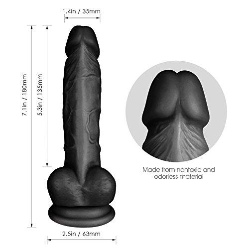 Louviva Dildo: Penisnachbildung mit super starkem Saugnapf - mit realistischer Nachbildung von Adern, Eichel und Hoden - Flüssigsilikon Geruchlos (Schwarz)Baue - 2