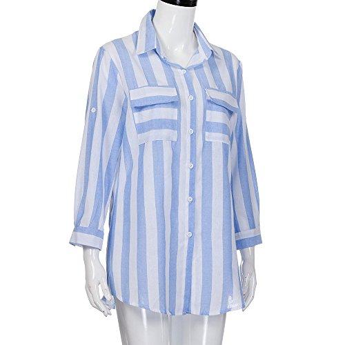 POachers Camicie da donna Camicetta a quadri Camicetta a maniche lunghe a maniche lunghe con scollo a V a righe sexy da donna Blu