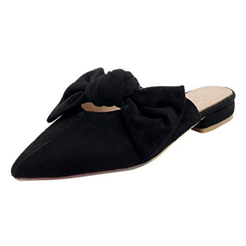 YE Damen Flache Mules Pantoletten Geschlossen Pumps Spitz mit Schleife Bequem Outdoor Slipper Schuhe
