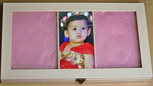 Happyimprints Clay kit for kids(white frame pink clay), casting,impressions,prints of hand and legs