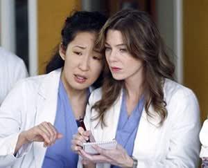 ELLEN POMPEO AS DR. MEREDITH GREY, SANDRA OH AS DR