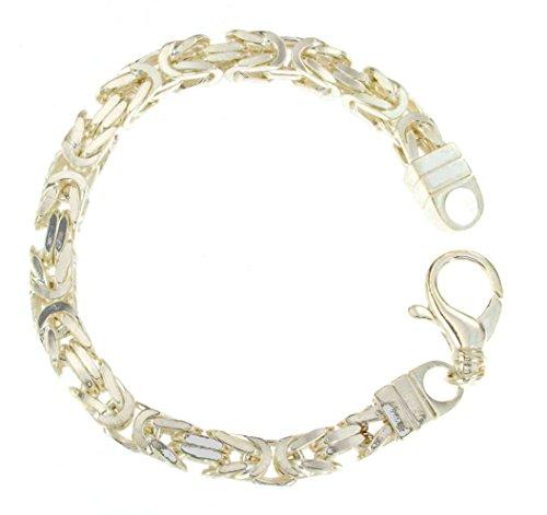 Königsarmband 925 Silber 8 mm 23 cm Silber-Armband Damen Herren-Armband Herren-Schmuck ab Fabrik tendenze Italy D-BZ8-23v (Italienische Herren-armband Silber)