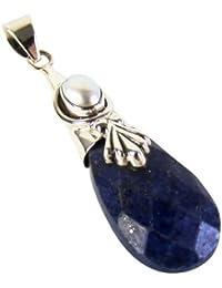Exklusiver Ketten Anhänger Lapis Lazuli 16 Karat eingefasst in 925 Sterling Silber Marquise Facettenschliff Juweliers- Qualität