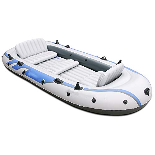 Kanqingqing Kajak 4 Personen / 5 Personen Dickes Luftkissenfahrzeug Fischerboot Rückenlehne Schlauchboot Kajakfahren Verbreiterung (Farbe : Weiß, Größe : 168x366cm)