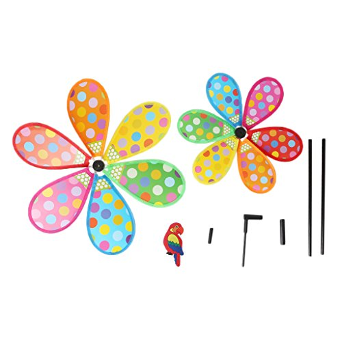 fogun Kinder Windmühle Toys Dots drucken Double Layer Yard Garten Decor Colorful Outdoor Windmühle