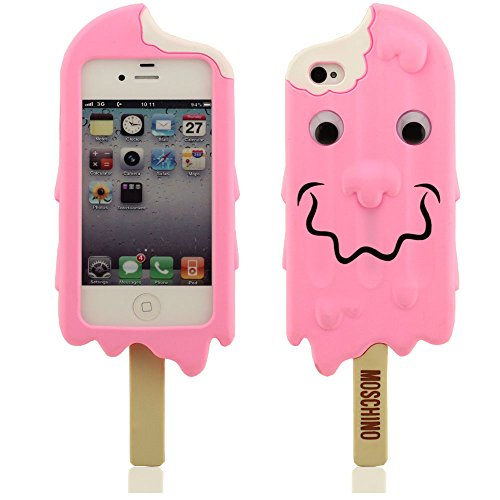 iPhone 4 4S 4G Hülle, iPhone 4 4S 4G case,iPhone 4S Fall, Creative Design Eis-weiche Silikon-Schutzhülle für Apple iPhone 4 4G. (rosa) rosa
