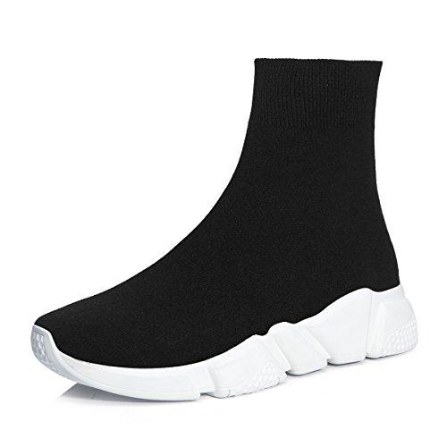 Scarpe da Ginnastica Uomo Donna Sportive Traspirante Calzino Running Sneakers Fitness Scarpe da all'Aperto Nero/Bianco 37