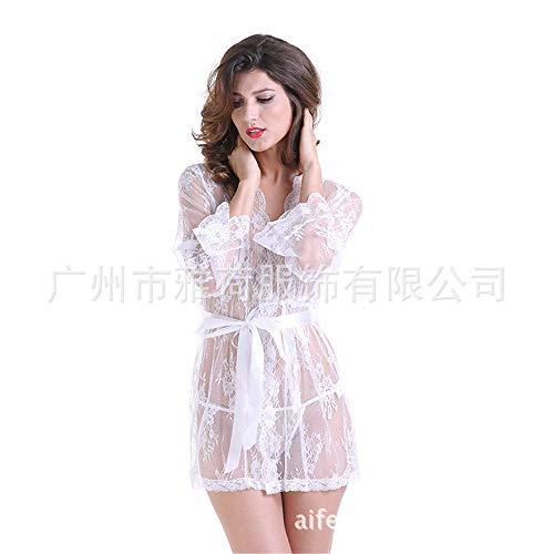 Erotische Kleider Trumpet Sleeve Kimono Lace Pyjamas Europa Und Amerika Damen Große Dessous, Weiß, XL Erotik