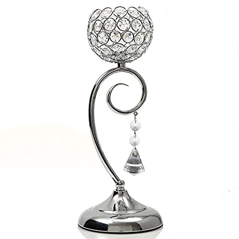 VINCIGANT Decorative Candle Lanterns Home Decoration Silver Crystal Beaded Candle Holder Table Centerpeices Candelabra