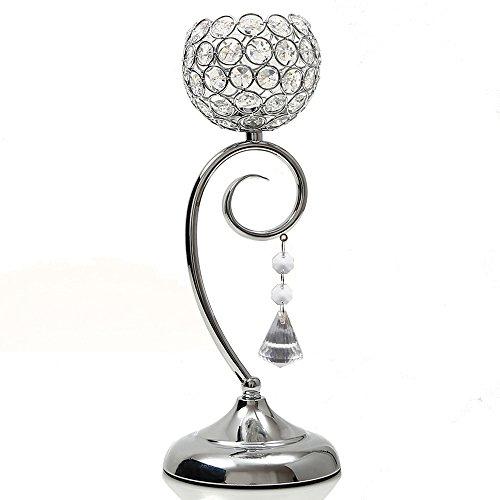 VINCIGANT Silber Kristall Tisch Kerzenhalter Lampe für Esszimmer Dekoration