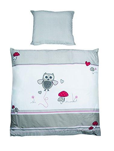 he, Wiegenset Kollektion 'Adam & Eule', Baby Bettwäsche 80 x 80 cm (Decke & Kissen), 100% Baumwolle, mehrfarbig, 2-teilig ()