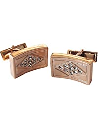 TiedRibbons® Crystals Studed Golden Men's Cufflinks Gift Set | Cufflinks Set For Men | Cufflinks For Shirt | Cufflinks...