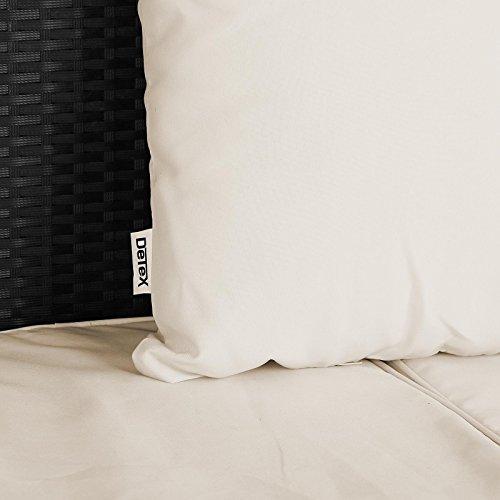 Poly Rattan Sonneninsel 230cm oval schwarz mit faltbarem Sonnendach inkl. 7cm dicke Auflagen + 3 bequeme Kissen - abnehmbare, waschbare Bezüge - Sonnenliege Gartenliege Liegeinsel Lounge Liege Gartenmöbel - 5