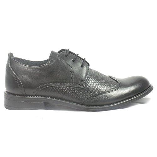 Lotus Black Leather Lace-Up Mens Shoe 8