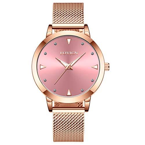 Reloj de Oro Rosa para Mujer Reloj analógico de Cuarzo, Banda de Malla de Acero Inoxidable, para Mujer de Moda Casual (Rosa)