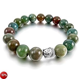 MunkiMix 12mm Lega Bracciale Energia Collegamento Polso Energia Stone Verde Tono Argento Indiano Agata Agate Buddha Preghiera di Mala Perline Elastico Uomo,Donna