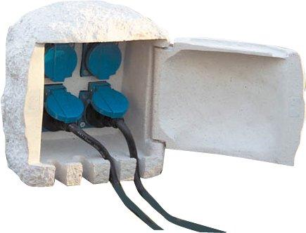 Westfalia Steckdosen-Stein mit 4 Steckdosen + 5 m Gummikabel