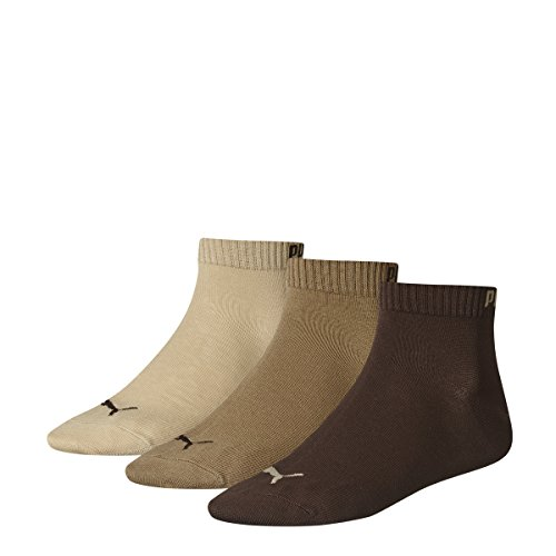 Puma Quarter Sock (3 Pairs), Brown Mix - UK 6-8