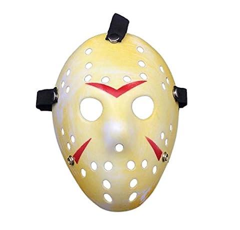Ultra Fancy Dress Jason X vS Freddy Friday the 13th Hockey Halloweenmasken in Silber Gold White Bronze Farben Erwachsene PVC Qualität Maske mit Klettverschluss, elastischen Gurt Gesicht Maske ausgefallene Halloween Costumeplay von Ultra (1 Maske) (gelb)