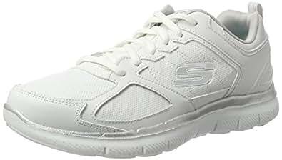 Skechers Flex Appeal 2.0-Good Time, Damen Sneakers, White/Silver, 38 EU