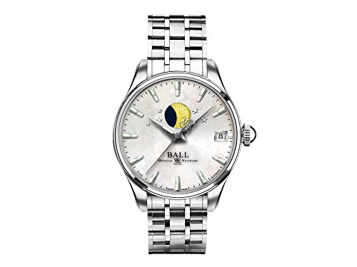 Ball Trainmaster Moon Phase Ladies Automatic Watch, Ball RR1801, NL3082D-SJ-WH