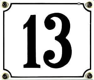 Buddel Bini Wetterfestes Emaille Hausnummernschild 13 12 x 14 cm, sofort lieferbar, weiß