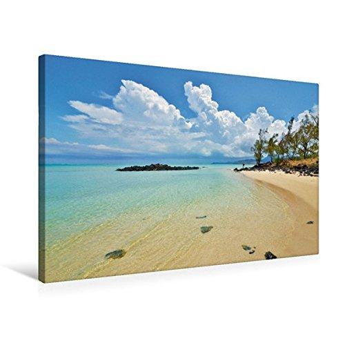Preisvergleich Produktbild Premium Textil-Leinwand 75 cm x 50 cm quer, Mauritius | Wandbild, Bild auf Keilrahmen, Fertigbild auf echter Leinwand, Leinwanddruck: Traumstrand auf der Ile-aux-Cerfs (CALVENDO Orte)