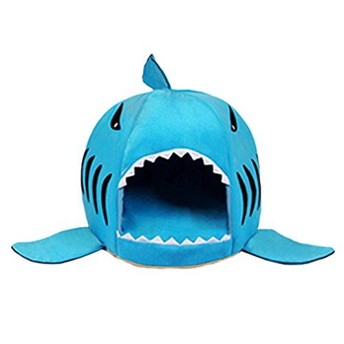 Lvrao 2 in 1 letto per animali domestici forma di squalo casette per cani, gatti pieghevole caldo cuscino (blu, 50*50*48cm)