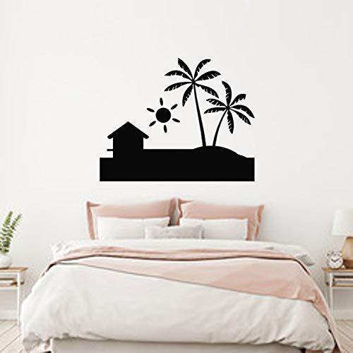 Strand Haus Strand Ufer Entfernbare Wandaufkleber für Badezimmer Home Decor Vinyl Wandtattoos Wohnzimmer Wandbilder 71X57CM