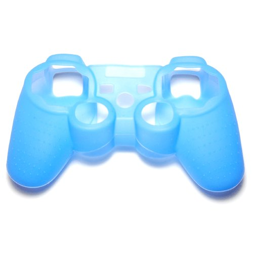 OSTENT Protective Silicone Gel Soft Skin Case Cover Pouch Compatible for Sony PS2 PS3 Controller Color Blue