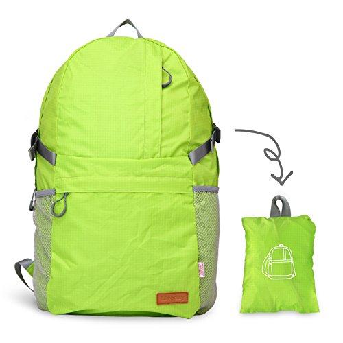 liveasy Ultra Leicht zusammenklappbar Packable Rucksack, 30L Große Kapazität, wasserdicht und strapazierfähige Rucksack Tagesrucksack, perfekt für Outdoor Sports Klettern Wandern Radfahren Trekking un lichtgrün