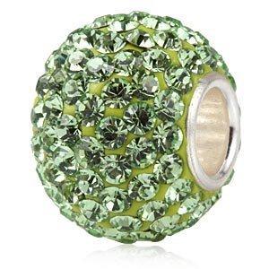 Andante-Stones 925 Sterling Silber Kristall Glitzer Bead Charm 'KRYPTONIT' als Kettenanhänger oder Element für Bettelarmbänder + Organzasäckchen